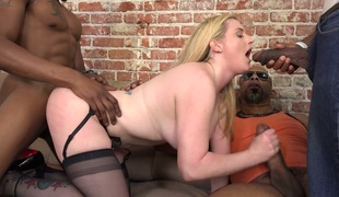 Pale chick Harmoni Kalifornia is having impure sex with black studs