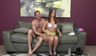 Ravishing senorita sits down on her partner's fully erected rod