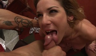 Horny busty bitch wakes up a man with a hawt blowjob