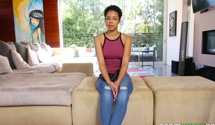 Ebony chick with short hair widens her legs for a massive dick