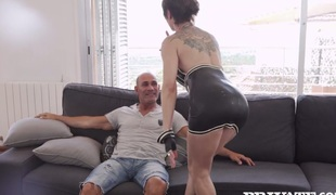 Tattooed granny Catalya Mia wazoo fucked by her horny fellow