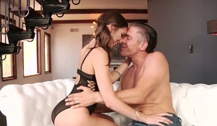 Fascinating cutie with pigtails  Riley Reid hammered well by her buddy