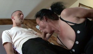 Granny in lace stockings Marianna gets her ruined cunt screwed