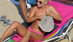 Pink Bikini Non-professional Topless Voyeur Beach Girls